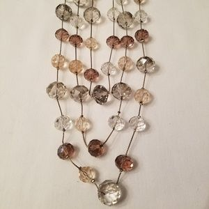 3 Strand Light Pink/Grey Illusion Necklace/Earring